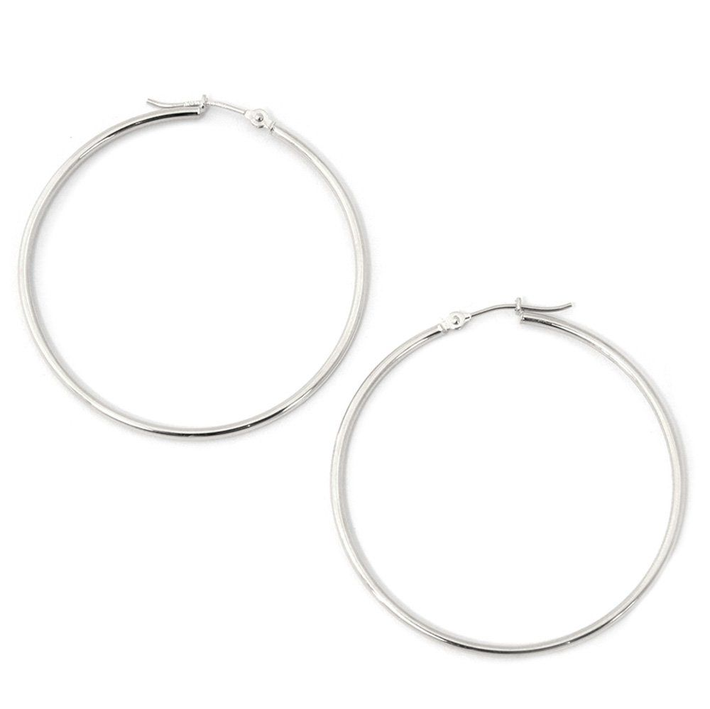 0d4e4acaf2650 10k White Gold 1.5mm Hoop Earrings, 1.5