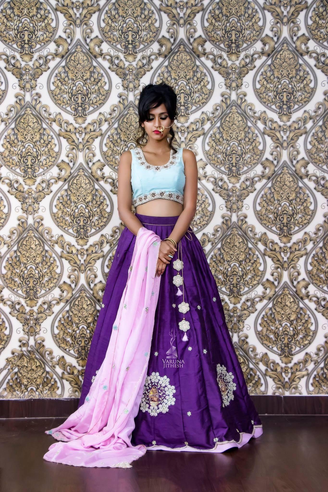 Beautiful Purple Color Lehenga And Powder Blue Color Crop Top