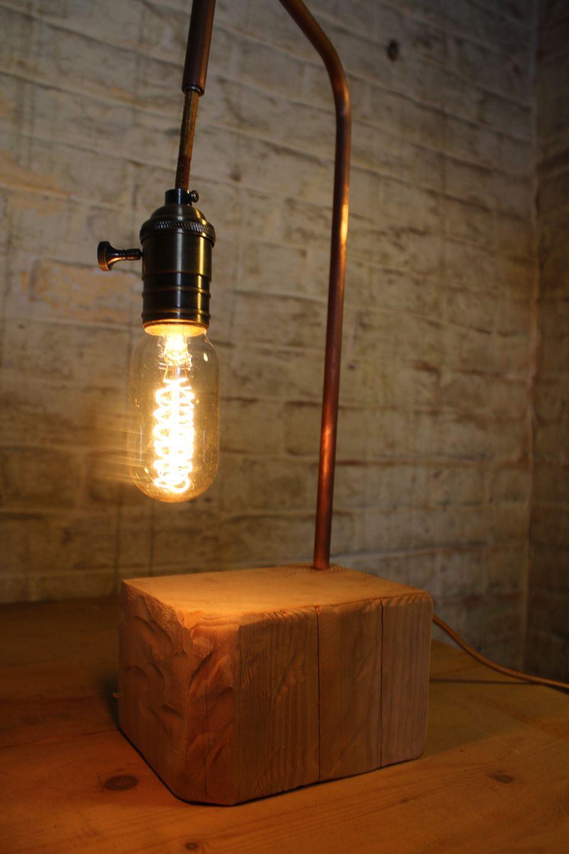 Lampe Bois Et Cuivre Avec Ampoule Edison Vintage : Luminaires Par Natelier