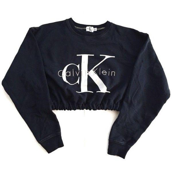 Vintage Reworked CK Crop Sweatshirt (495 SEK) ❤ liked on Polyvore featuring tops, hoodies, sweatshirts, sweaters, crop top, jumpers, sweat shirts, cropped sweatshirt, vintage sweat shirts and sweatshirts hoodies