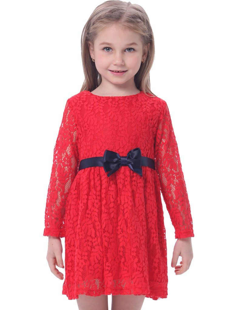 Bonny billy girls long sleeve midi lace party kids dress with bow