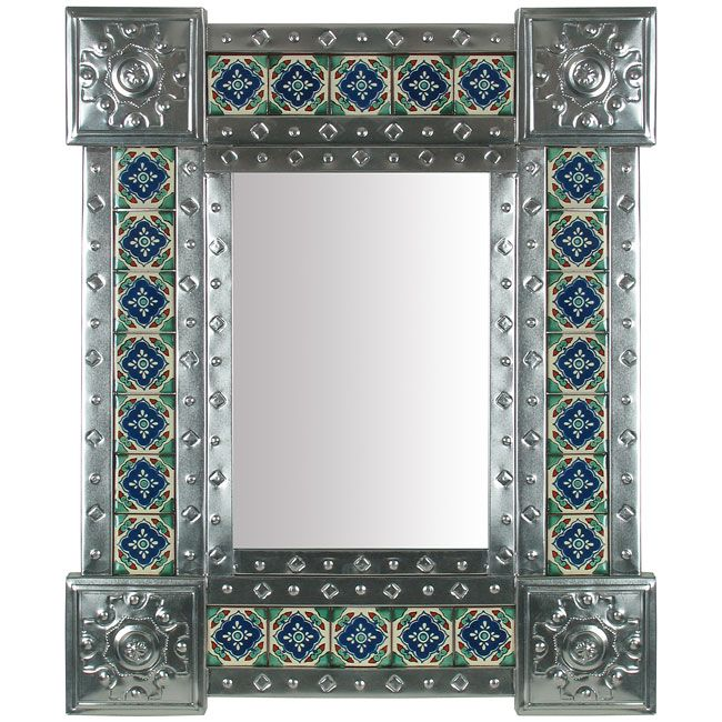 Handcrafted Mexican Embossed Tin Mirror With Talavera Tile Inlays