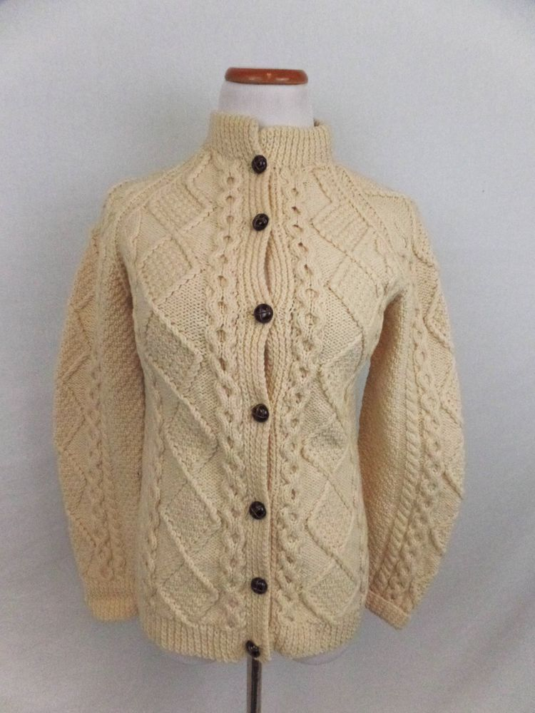 Blarney Woolen Mills Cable Knit 100% Wool Button Down ...