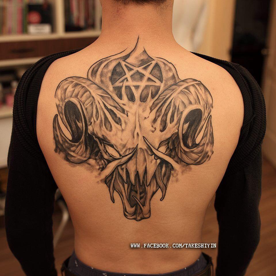 Back Tattoo Pentagram And Ram Skull Tats Art Pinterest