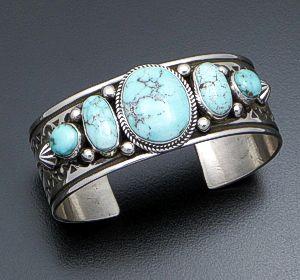 Albert Jake (Navajo) - Five Stone Dry Creek Turquoise & Stamped Sterling Silver Cuff Bracelet #41749 $810.00