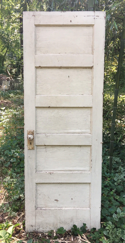 Antique Vintage 5 Panel Door With Hardware Vintage House Antique Door Antique Doors