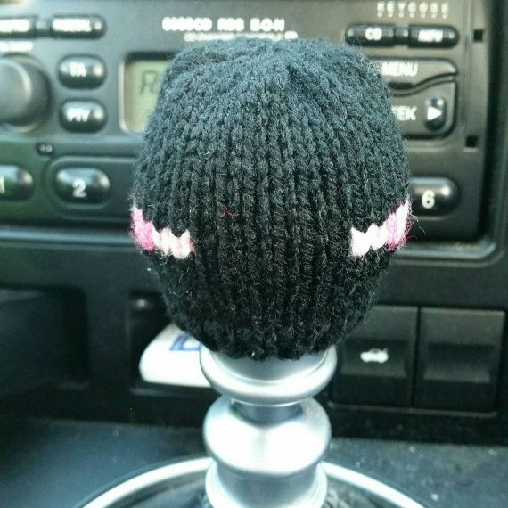 Minecraft Enderman style Gear Knob Beanie Hat by NutkinsKnits