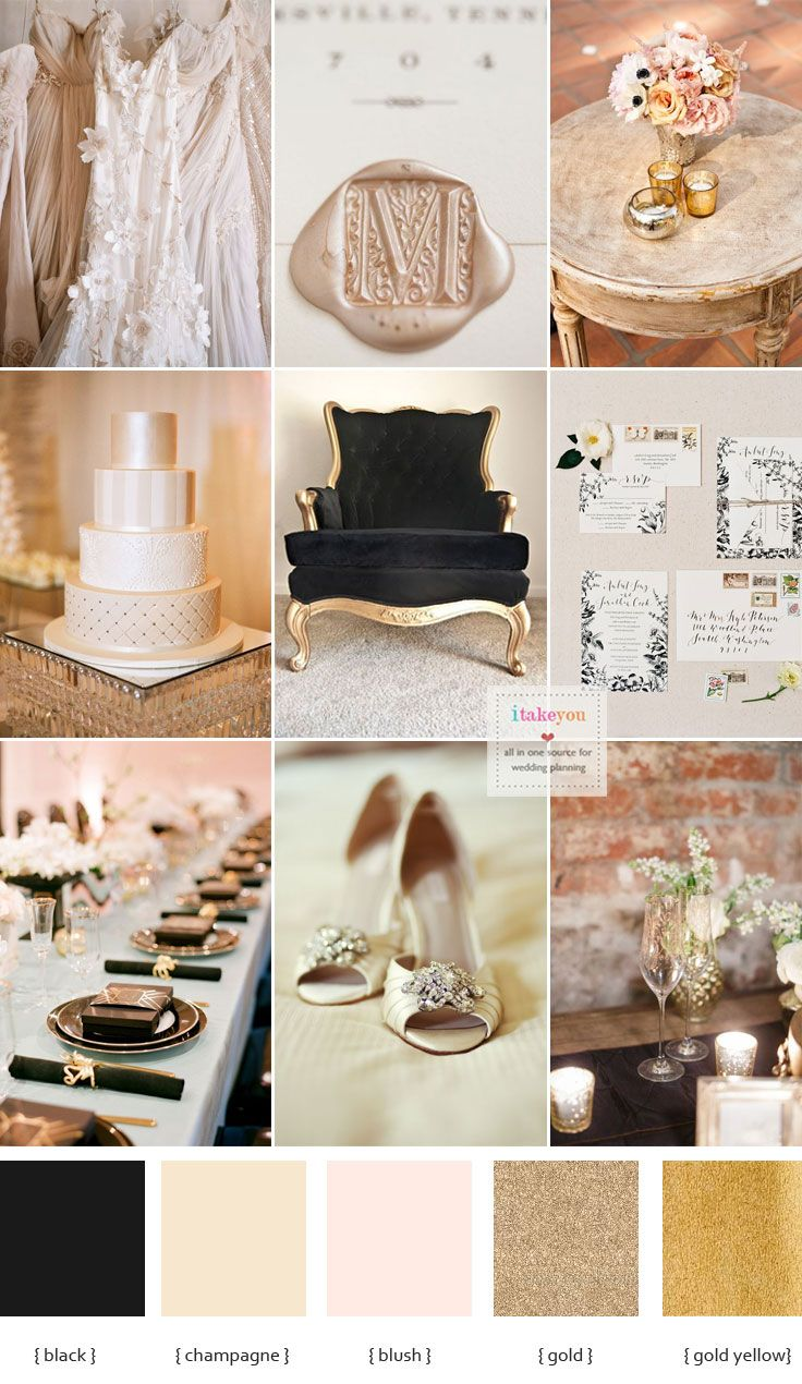Wedding decoration ideas gold  Champagne and black wedding theme for a luxurious wedding  Black