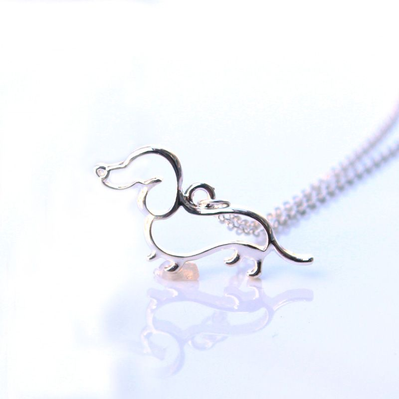 New Cute Little Puppy Dog Pendant Necklace Silver Dachshund