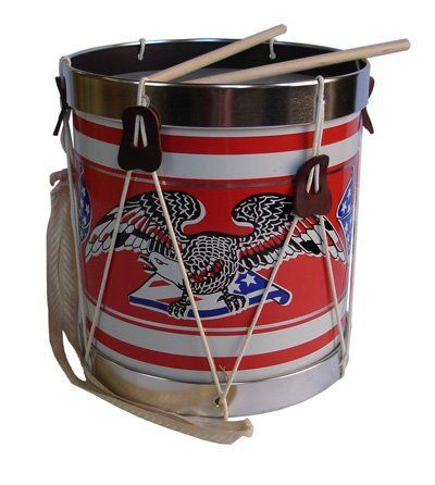 """KIDS PATRIOTIC TOY DRUM Americana Field Drum #376 by Noble & Cooley by Noble & Cooley. $59.99. .This patterned patriotic eagle, Americana Field Drum #376 by Noble & Cooley is 10"""" in diameter and 11"""" tall, comes with a carrying strap and pair of sticks. Everyone knows that there are few thrills as supremely joyful as banging out a rhythm on an musical instrument. Made in U.S.A.  Ages 5 and up.  By Noble & Cooley  really cute"""