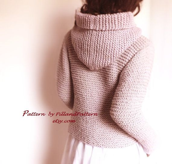 Knitting Pattern Hooded Womens Jacket Sweater Easy Knit Digital PDF ...