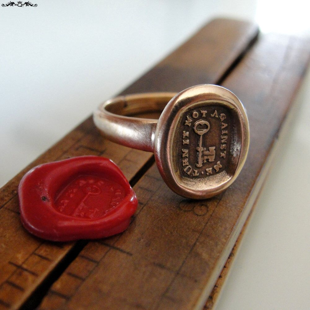 skeleton key wax seal ring antique wax seal jewelry key to my