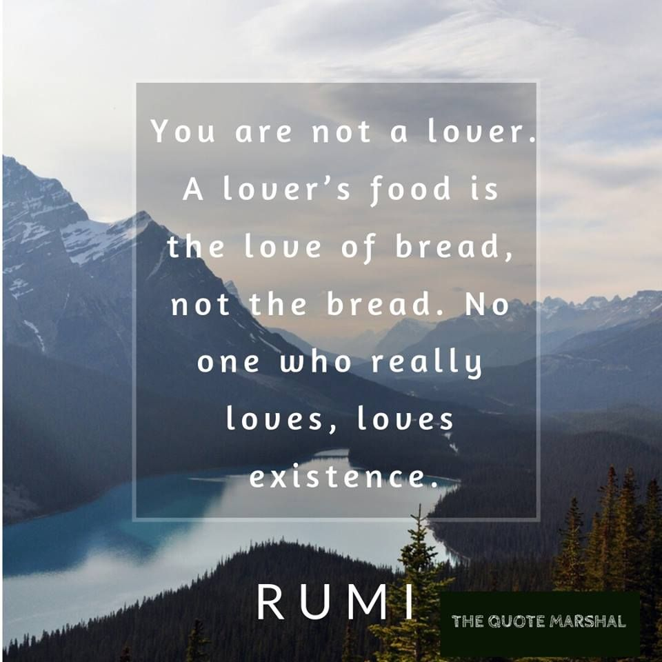Rumi Quote On Love You Are Not A Lover A Lover 39 S Food Is The Love Of Bread Not The Bread No One Who Really Loves Rumi Love Quotes Rumi
