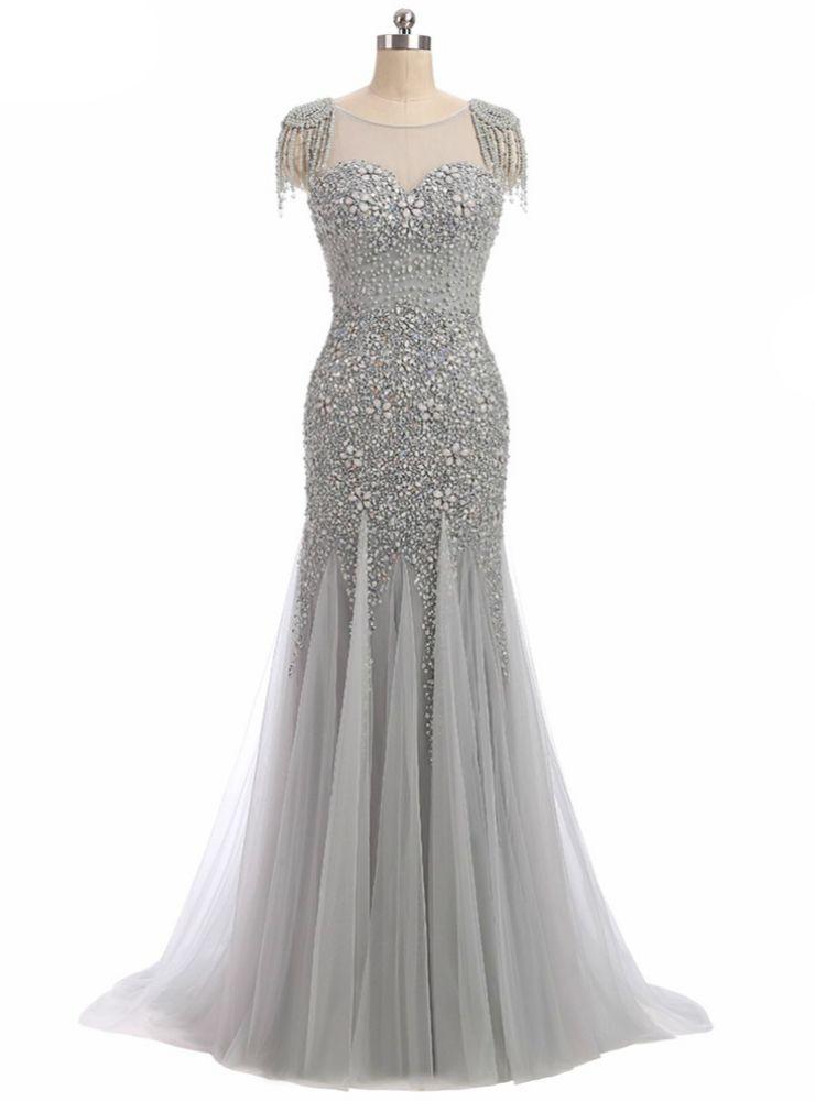 Long Mermaid Prom Dress Sparkly Beading Bodice Formal