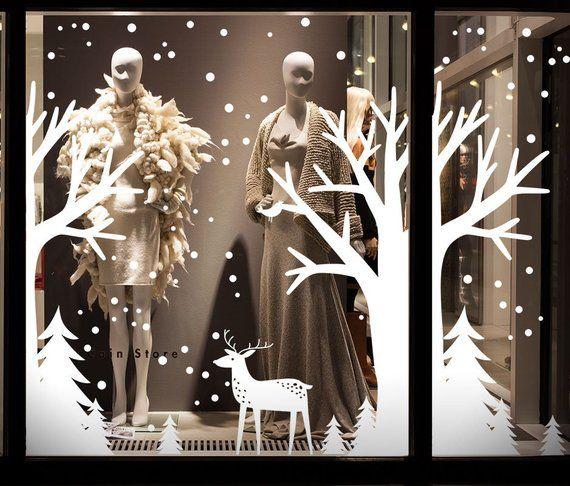 Photo of Self Adhesive Shop Window Christmas Decoration, Shop Window Christmas Decal Christmas decals for shop window, Christmas Window Decals Custom