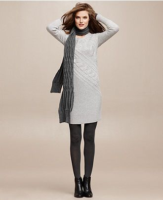 Cold Weather Chic Textured Sweater Dress Look - Womens Sweater ...