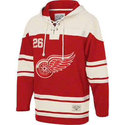 best cheap 02a0d 66608 Detroit Red Wings Red Old Time Hockey Lace Up Jersey Hooded ...