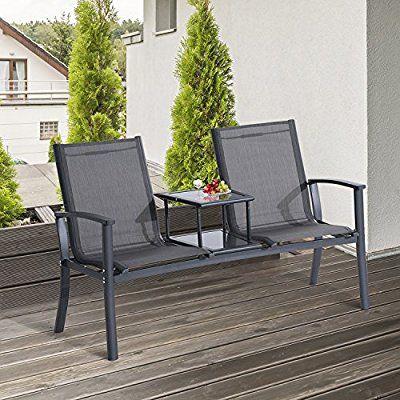 outsunny 2 seats patio garden chair