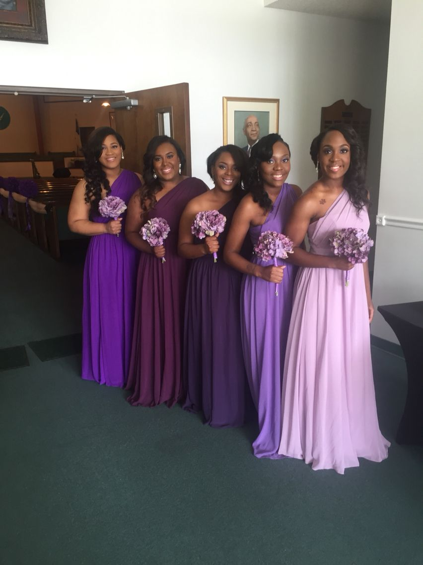 Ombré purple bridesmaid dresses. Beautiful. DIY bouquets | Wedding ...