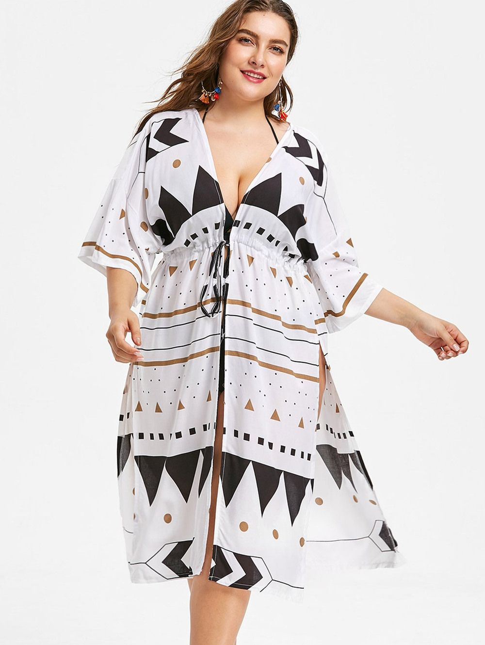 5ff6350f7fa3b Drawstring Waist Plus Size Printed Cover Up -
