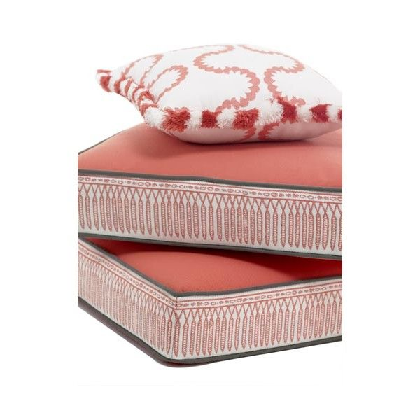 Outdoor cushions: coral, gray, and white