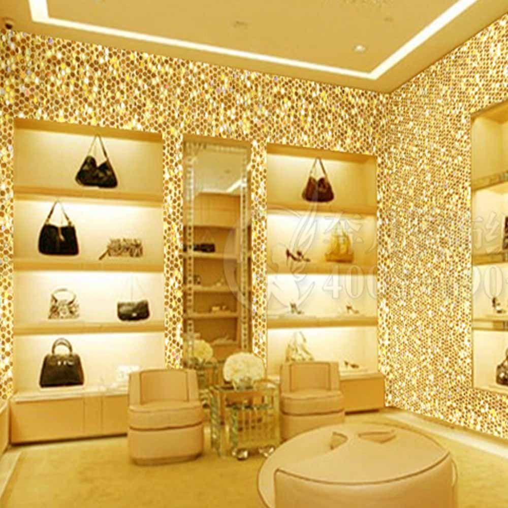 Barato Laser Glitter ouro papel de parede papel de parede estilo ...