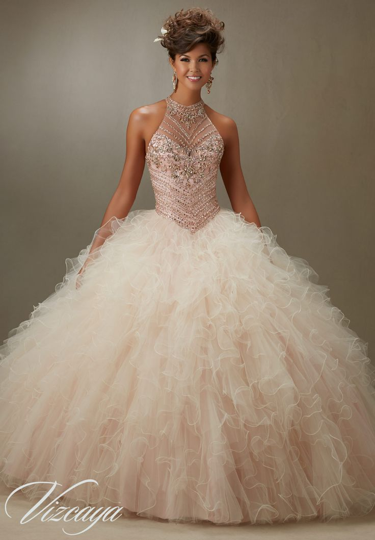 Pink champagne color quince dress