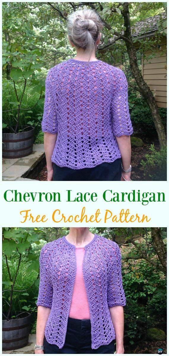 Crochet Chevron Lace Cardigan Free Pattern - Crochet Women Summer ...