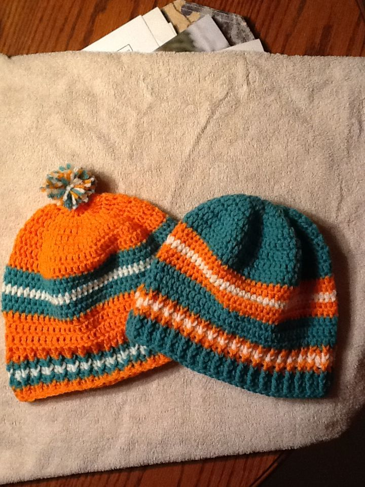 Miami Dolphins Crocheted Hats Judyscreations Crochet