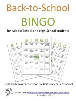 Back to School Activity  Bingo  Classroom  High school