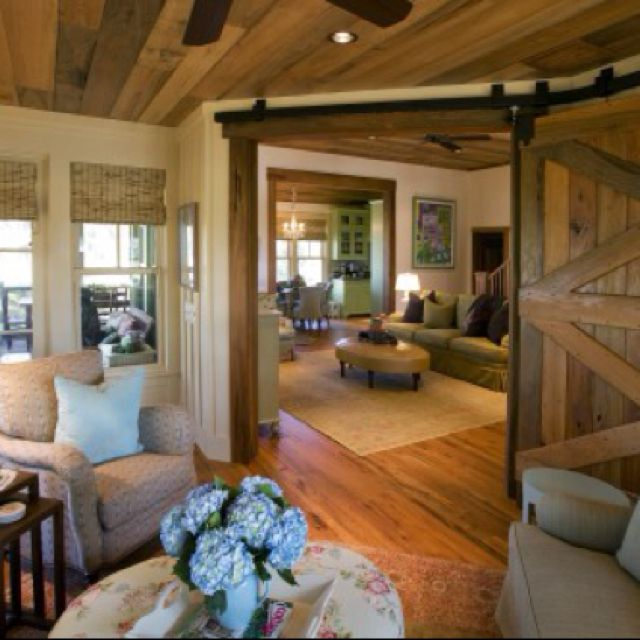 love wood ceiling& accents with cream walls