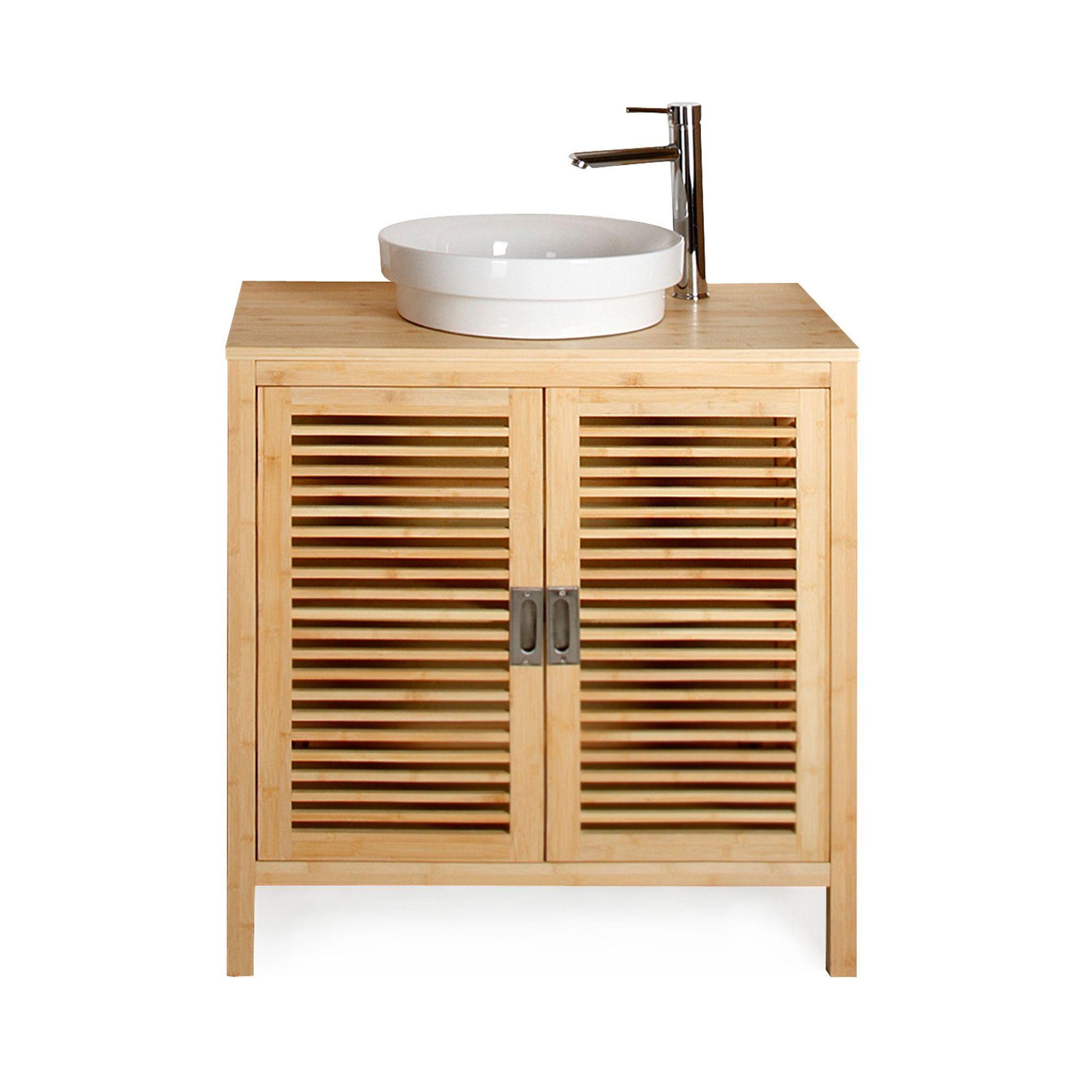 Meuble Sous Vasque Simple En Bambou 80cm Bambou Nature Les Meubles Sous Vasques Meubles Meuble De Salle De Bain Meuble Sous Vasque Meuble Salle De Bain