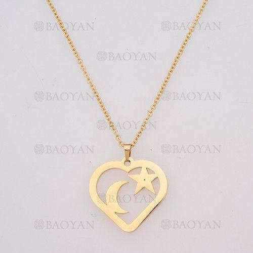 60dc7e3c7a1a collar fina con dije luna y estrella dentro forma corazon en acero dorado  inoxidable -SSNEG954053