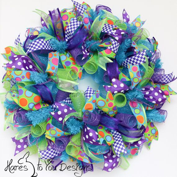 Photo of Items similar to Deco Mesh Wreath – Whimsical Colorful Fun  – Blue Purple Green on Etsy