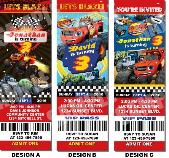 Printable Blaze And The Monster Machine Ticket Invites Customize With Your Birthday Party Information This Is A 2x6 HIGH RESOLUTION Digital File That Will