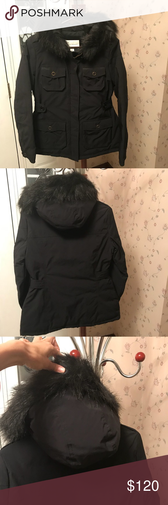 """Banana republic puffer coat hood faux fur down new New with tags puffer coat in black. Soft hood. Faux fur hood trim. Down and feather filled. Fully lined on a soft material. Side cinching waist with button cinch. Full zip and button option. Extra buttons on tag. Perfect new condition! Measures: length is 28"""" from shoulder to hem, sleeves are 24.5"""", armpit to armpit is 19"""", chest is up to 38"""", waist up to 36"""". Hip is 44"""". Shoulder to shoulder is 16"""". Never worn! Banana Republic Jackets…"""