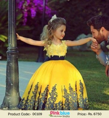 c575f169023c Gorgeous Yellow Princess Pageant Dresses - Kids Indian Style Prom Dress,  Little Girl Ball Gown Wedding Dress, Designer Kids Luxury Clothes