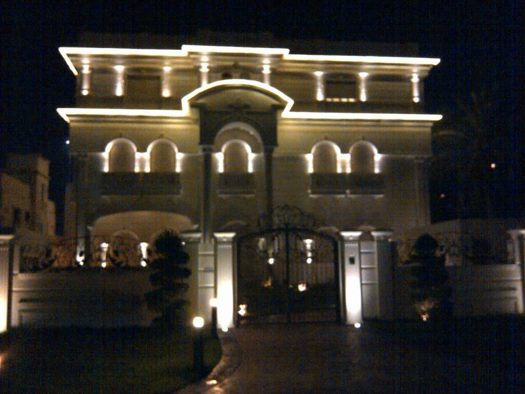 LED rope lights outline the roof-line of this Kuwait home | Rope ... for Led Lights For Homes Outdoor 193tgx