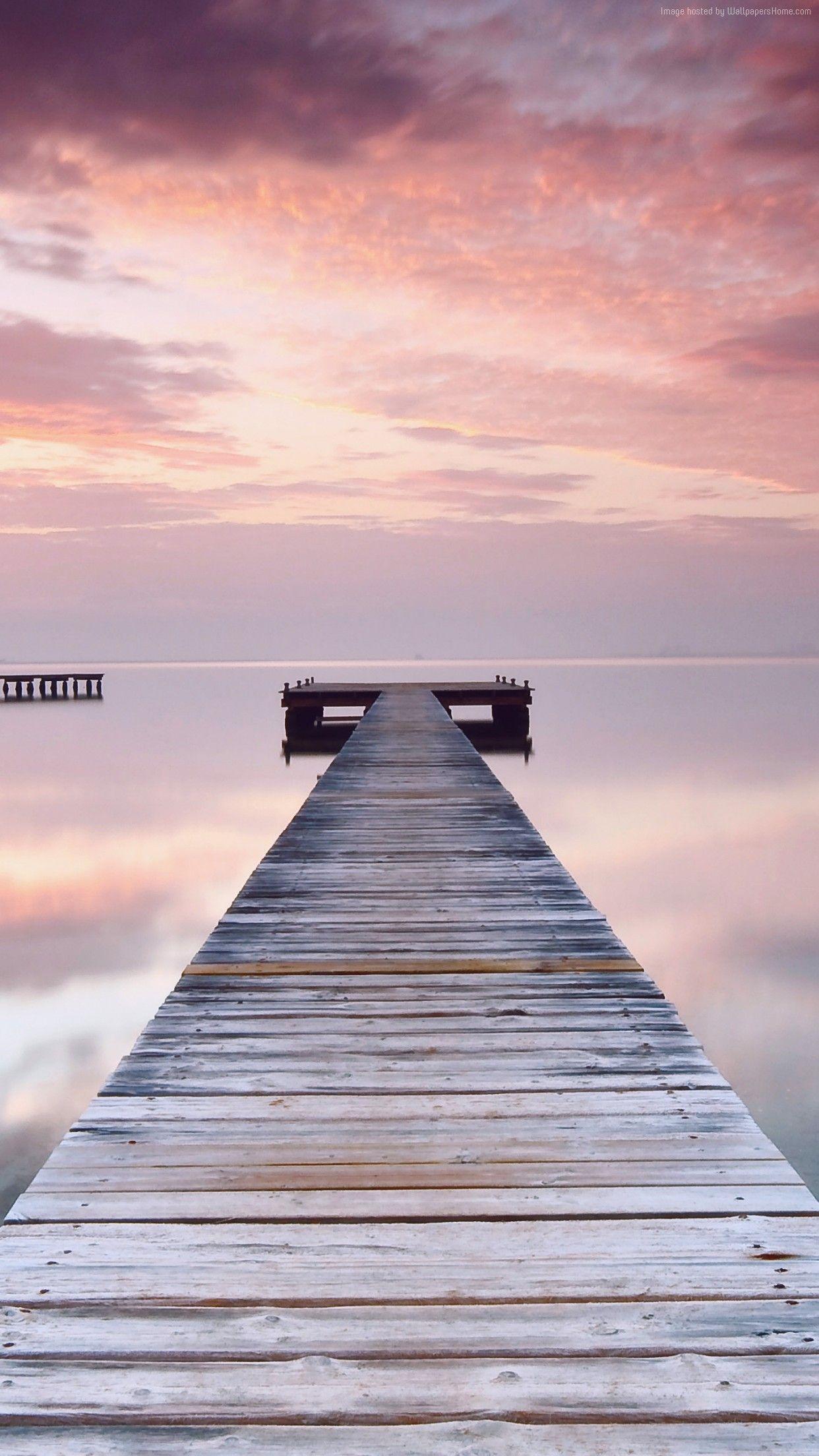 Sky Sunset Water Ocean Jetty Pink Wallpaper Iphone Clean
