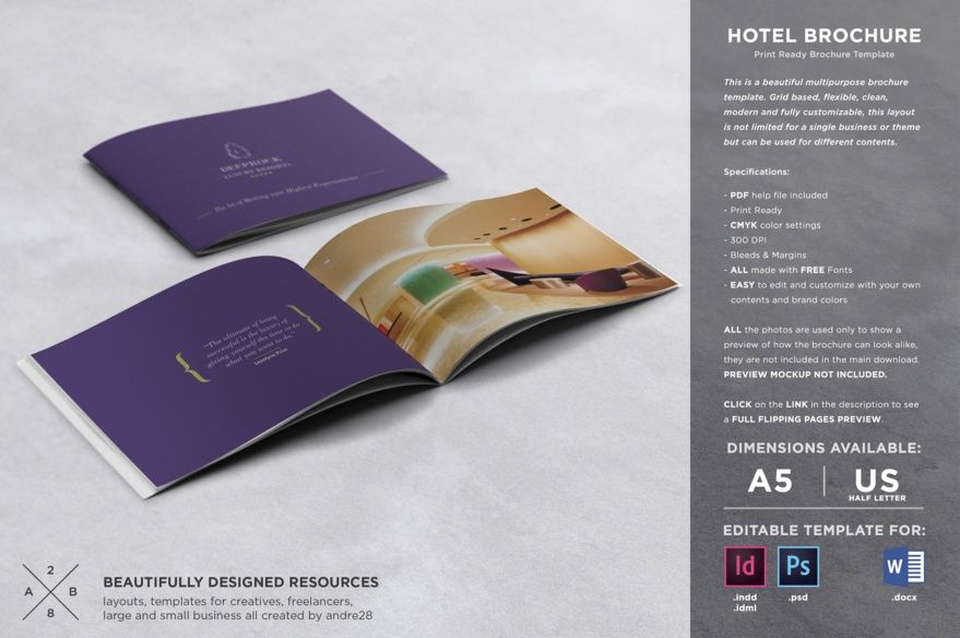 Hotel Brochure Template Psd, Indesign And Word Format | Maldives