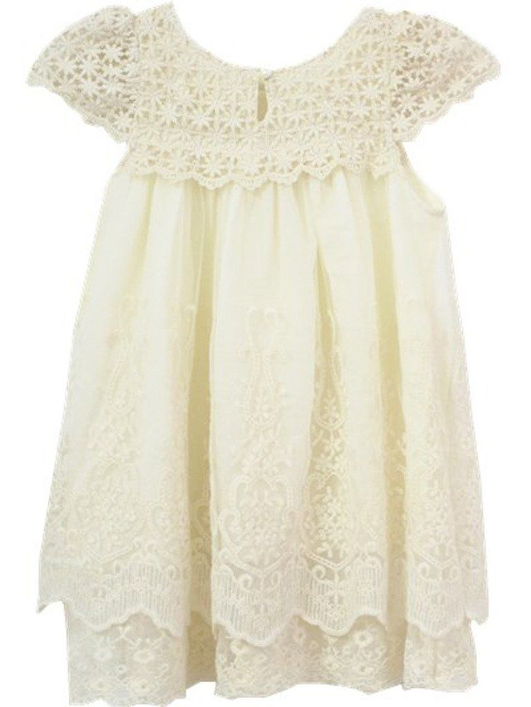 d1ee9e6f94e Amazon.com  Bow Dream Flower Girl s Dress Vintage Lace Off White  Clothing