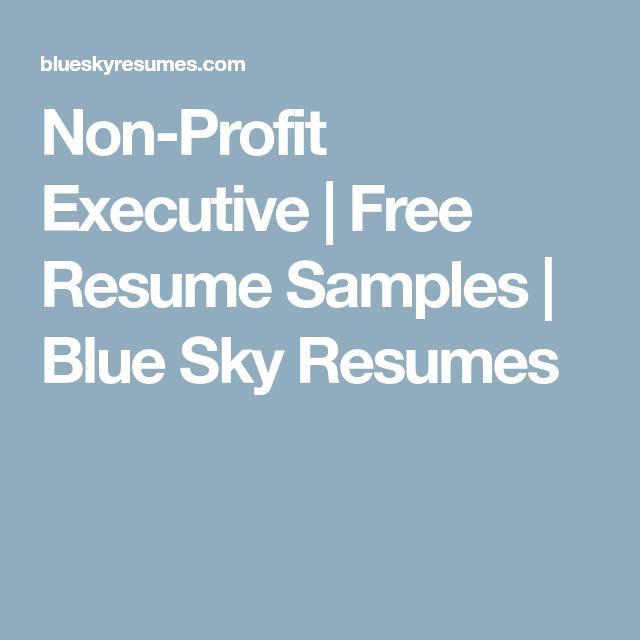 Non-Profit Executive   Free Resume Samples   Blue Sky Resumes ...