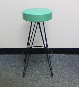 Awe Inspiring Vtg 1950S Mid Century Atomic Bar Stool Hairpin Legs Blue Gmtry Best Dining Table And Chair Ideas Images Gmtryco