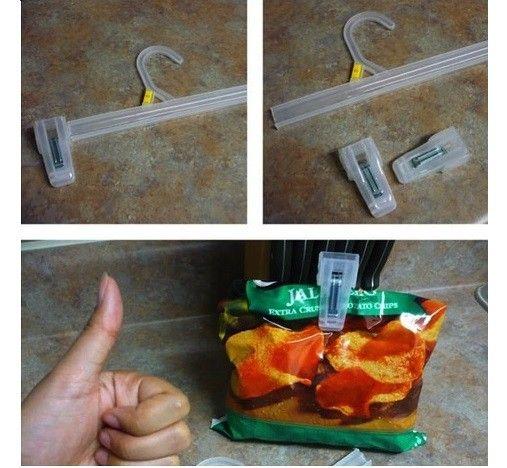 Descubre 21 nuevos usos para objetos de uso diario - Usa los broches de las perchas para cerrar b