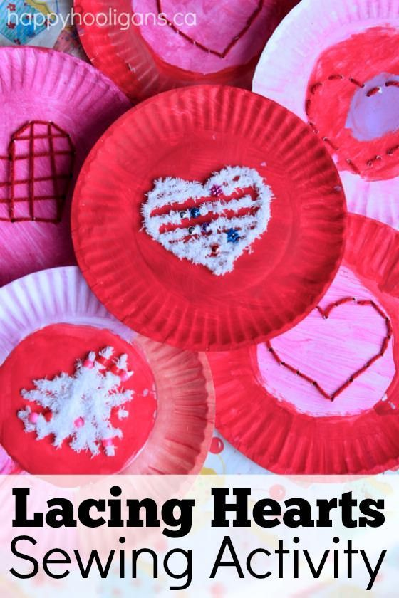 Paper Plate Heart Lacing Activity for Kids | Happy hooligans ...