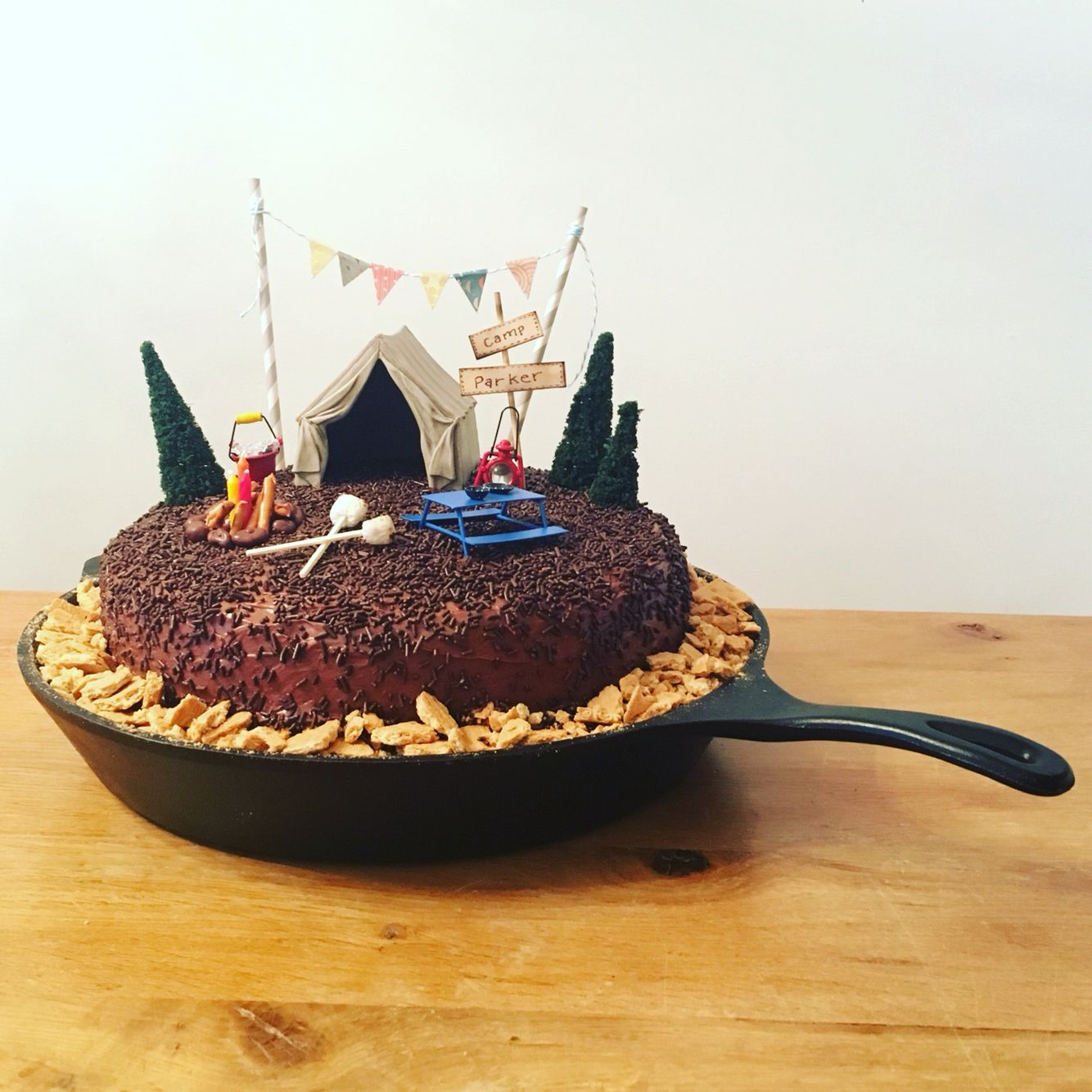 Camping Theme Birthday Cake In Cast Iron Skillet