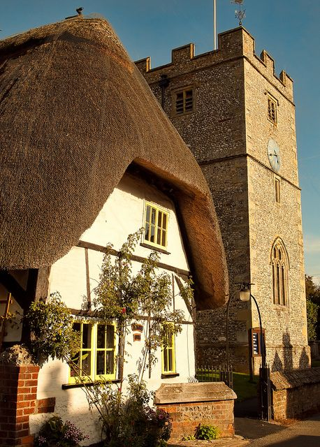 Afternoon sunlight on St. Peter's cottage and St. Peter's Church in the village of St. Mary Bourne, Hampshire by Anguskirk, via Flickr