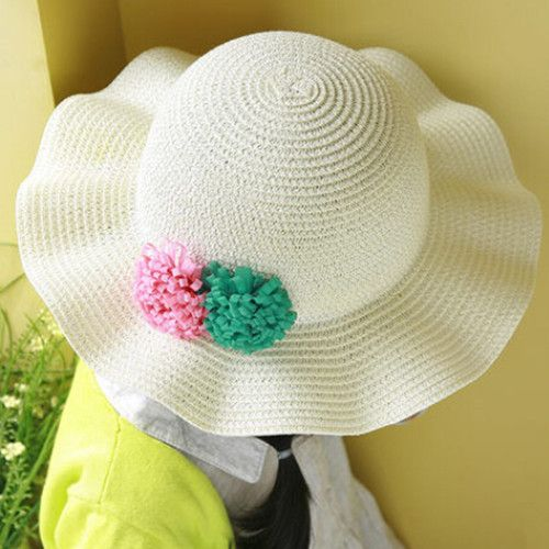 cf41b73e8ee Flower white sun hats for kids flouncing straw hat summer beach wear ...