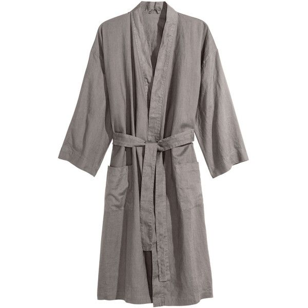 H&M Washed Linen Bathrobe $34.99 ($50) ❤ liked on Polyvore ...