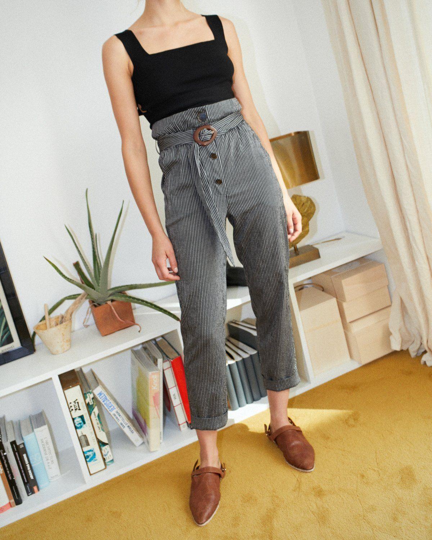 NATCHEZ - Paperbag pants - Stripe